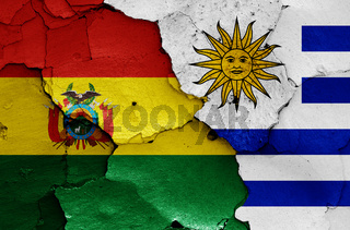 flags of Bolivia and Uruguay painted on cracked wall