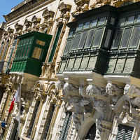 Maltese balconies in Valletta.