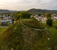 Ancient indian or native american burial mound in Moundsville, West Virginia