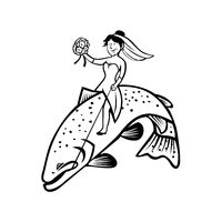 Bride Female Fisherman with Flower Bouquet Riding a Steelhead Trout Cartoon Black and White