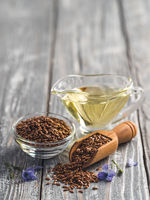 Flax seeds and flaxseed oil with copy space