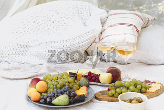 Fresh fruits and wine on picnic blanket