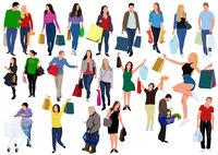 Sammlung von Personen, die Einkaufstaschen mit Käufen tragen