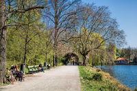 Berlin, Germany - April 9th, 2019 - riverside path on lake lietzen
