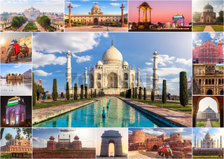 India photo collage, famous sights in one picture