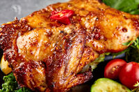 Roasted whole glaze chicken with fresh vegetables