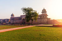 Beautiful sunrise in Agra Fort, courtyard view, India