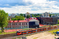 Urban cityscape, train, Tallinn, Estonia