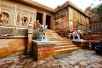 Tilt shift lens - Laxminath temple of Jaisalmer, dedicated to the worship of the gods Lakshmi and Vishnu. Jaisalmer Fort is situated in the city of Jaisalmer, in the Indian state of Rajasthan.