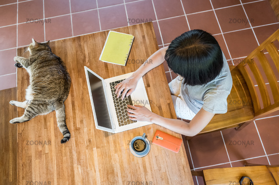 working at home with her cat