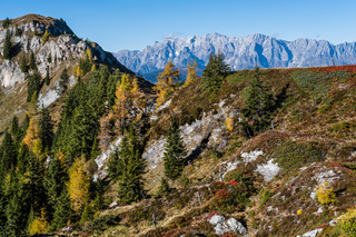 Peaceful autumn Alps mountain sunny view from hiking path from Dorfgastein to Paarseen lakes, Land Salzburg,Austria
