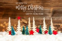 Christmas Tree, Snow, Red Star, Merry Christmas And Happy New Year, Wood