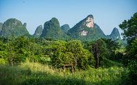 Green karst mountain landscape in Yangshuo