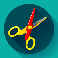 Stationery colored plastic scissors icon, vector illustration.