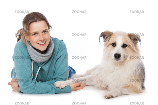 Young woman with cute dog