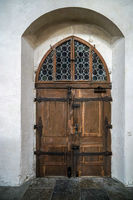 Old wooden door in St James Church in Rothenburg