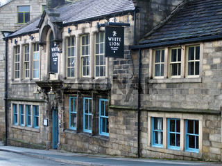 the front entrance of the historic white lion pub and hotel at hebden bridge west yorkshire a historic 17 century former coaching inn