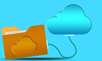 Cloud computing concept with blue internet cloud icon and yellow folder