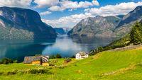 Panoramic view Stegastein in Aurland, Sogn og Fjordane, Norway