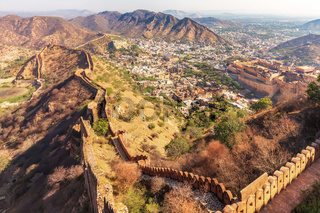 Amber Fort and Amer in the Aravalli Hills, view from the walls of Jaigarh Fort, Jaipur, Egypt