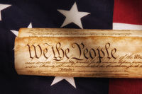 United States Constitution on Flag, Great for Patriotic holiday projects, with warnm side light.