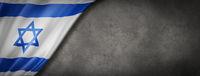 Israeli flag on concrete wall banner