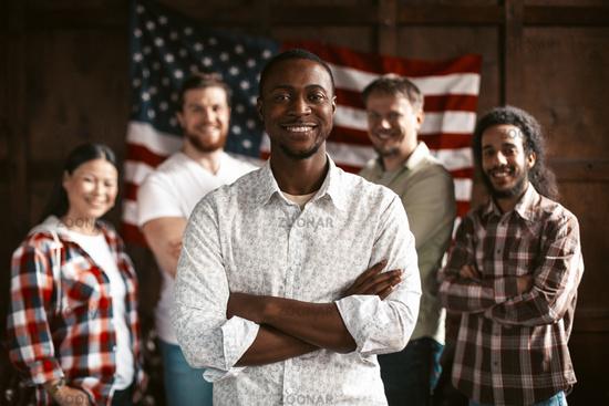 American Team Of Patriotic Standing In Office