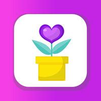 Heart flower pot icon, flat design. Isolated on white background. Vector illustration, clip art