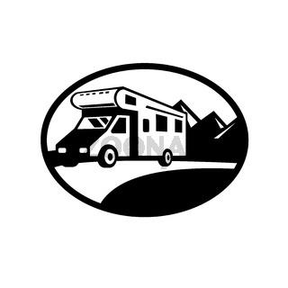 Campervan Motorhome Caravan Van on Road with Mountains Oval Black and White