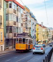 yellow tram, Lisbon street, Portugal