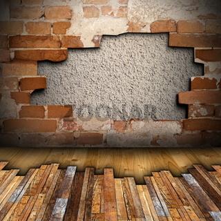 mahogany floor installing on interior backdrop with cracked wall
