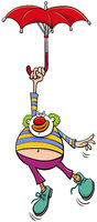 circus clown with umbrella cartoon illustration