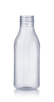 Front view of empty plastic milk bottle