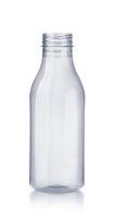 Front view of empty plastic milk bottle