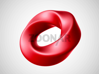 3D red torus isolated on white background.