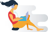 Vector flat illustration of cute girl listening music and checking her laptop.