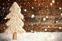White Fabric Christmas Tree, Snow, Copy Space, Snowflakes