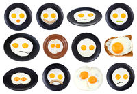 set of various fried eggs on plate isolated