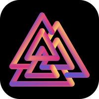 Viking Valknut icon. Colorful gradient liquid logo.