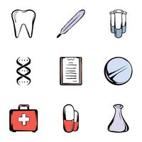 Medical things icons set, cartoon style