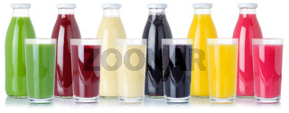 Group of fresh fruit smoothies fruits orange juice drink in glass and bottle isolated on white