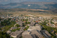 Overlooking view of medieval houses in Gjirokaster, Albania