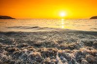 Beach and sea sunset