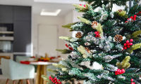 Close up view decorated natural or artificial Christmas Tree