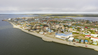 Aerial View Over the Northwest Arctic Borough of Kotzebue Alaska