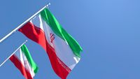 3D rendering of the national flag of Iran waving in the wind