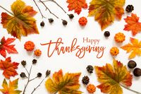 Bright Colorful Autumn Leaf Decoration, English Text Happy Thanksgiving