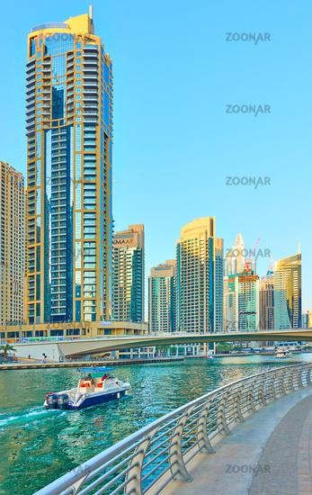 Canal amd modern towers of Dubai Marina