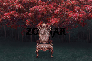 Abstract digital composite of ornate throne with mystical fairy forest with dark woods at background
