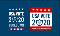 US presidential election in the context of the coronavirus pandemic. COVID-19. Online voting option. Vector illustration with medical mask